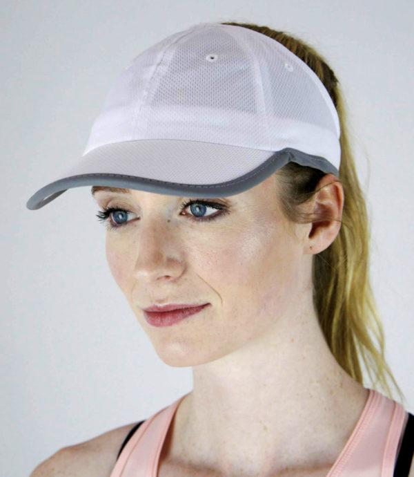 white sport mesh hat side