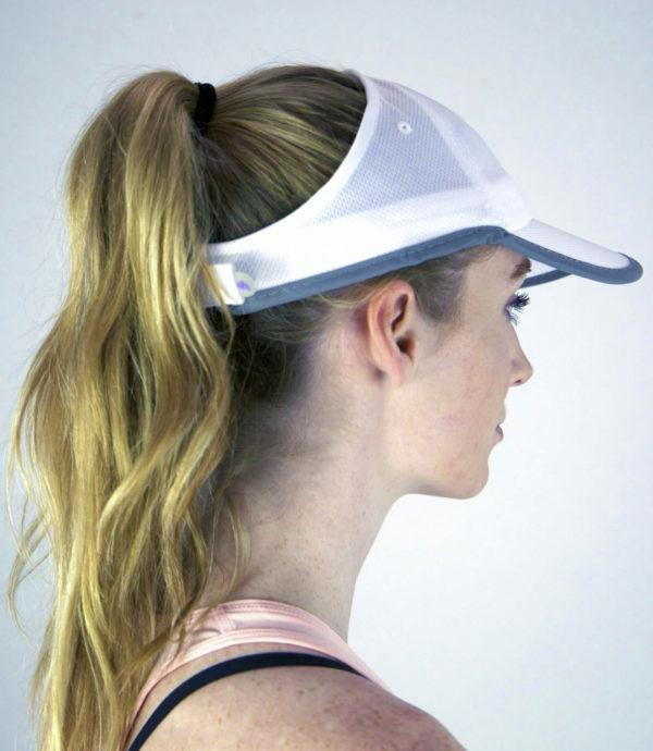 sports mesh hat, white side view
