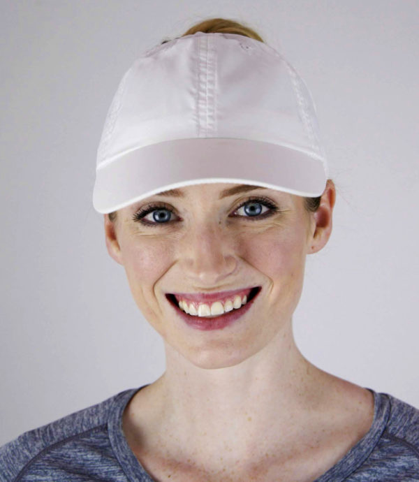 white microfiber hat front