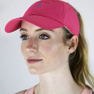 pink microfiber hat with icon