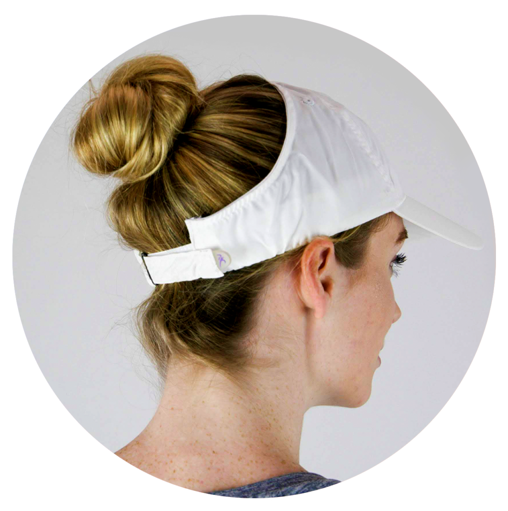 Keep cool with an up-do in white microfiber hat