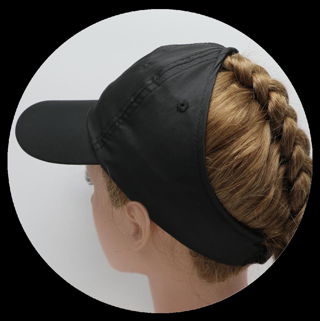 Black microfiber hat with braid