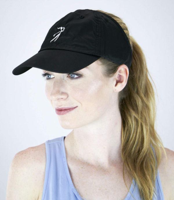 black microfiber golf hat, front view