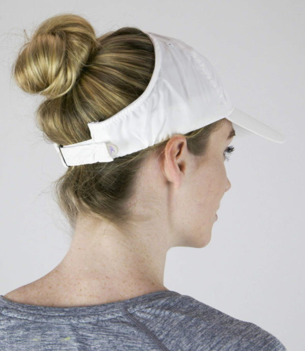 microfiber hate in white, back view with bun